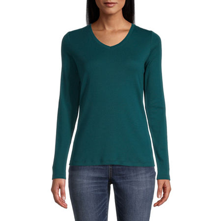 St. John's Bay-Womens Scoop Neck Long Sleeve T-Shirt, Xx-large , Green