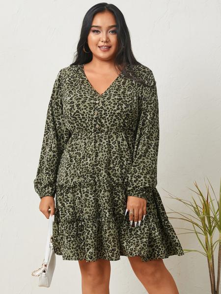 YOINS Plus Size V-neck Leopard Long Sleeves Mini Dress