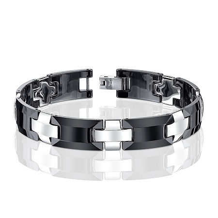 Mens Stainless Steel and Ceramic Link Bracelet, One Size , Multiple Colors