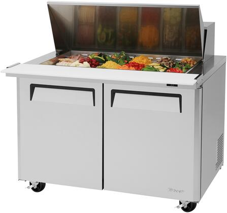 MST-48-18-N 49 M3 Series Mega Top Sandwich/Salad Prep Table with 15 cu. ft. Capacity  18 Pans  Self-Cleaning Condenser and Cold Bunker System in