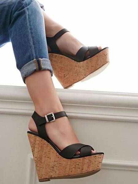 Milanoo Sandalias Plataforma 2020 De Cuña Negras Tacones De Plataforma De Las Mujeres Peep Toe Hebilla Detalle Sandalia Zapatos