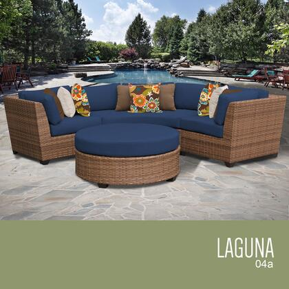 LAGUNA-04a-NAVY Laguna 4 Piece Outdoor Wicker Patio Furniture Set 04a with 2 Covers: Wheat and