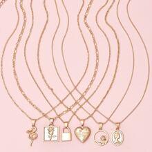 6pcs Heart & Lock Charm Necklace