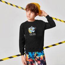 Pullover mit Tiger & Buchstaben Stickereien