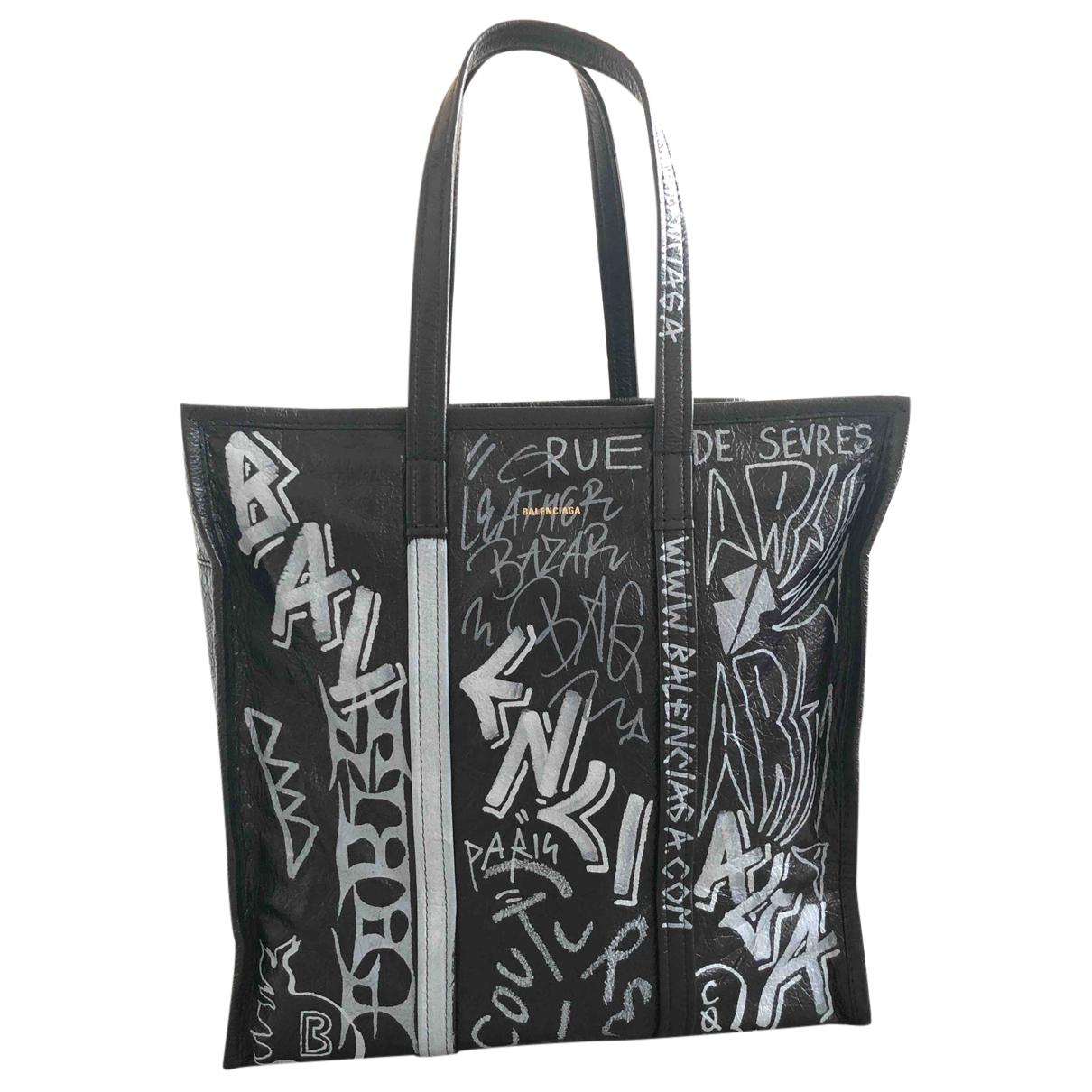 Balenciaga Bazar Bag Black Leather handbag for Women N