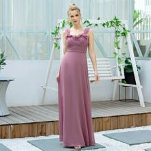 Appliques Detail Ruched Bodice Prom Dress