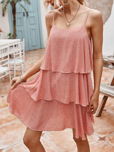 Yoins Polka Dot Tiered Design Spaghetti Strap Sleeveless Mini Dress