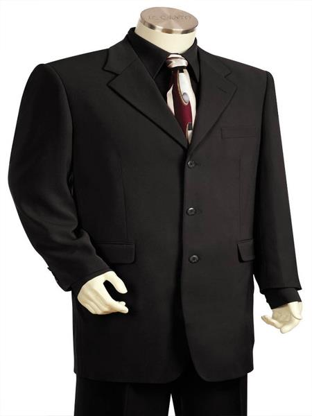 Mens Flap Two Pocket Black 3pc Suit And Pants