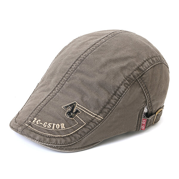 Men's Cotton Embroidery Adjustable Beret Cap Duck Hat Sunshade Casual Outdoors Peaked Forward Cap