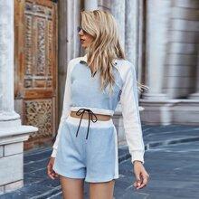Outfit de dos piezas Cremallera Monocolor Casual