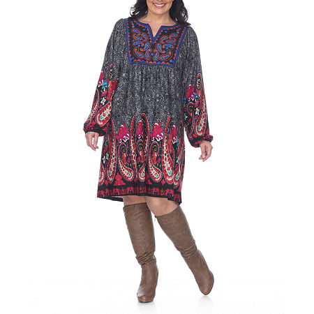 White Mark-Plus Embroidered Long Sleeve Sweater Dress, 4x , Gray