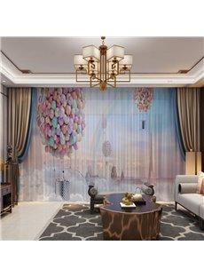 3D Hydrogen Balloon Rainbow European Castle Printed 2 Panels Custom Sheer
