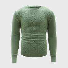 Guys Ribbed Knit Crew Neck Sweater