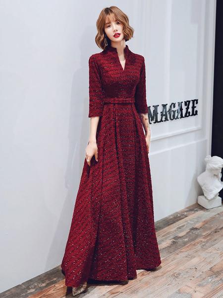 Milanoo Evening Dress A-Line High Collar Sequined Floor-Length Sash Formal Dinner Dresses
