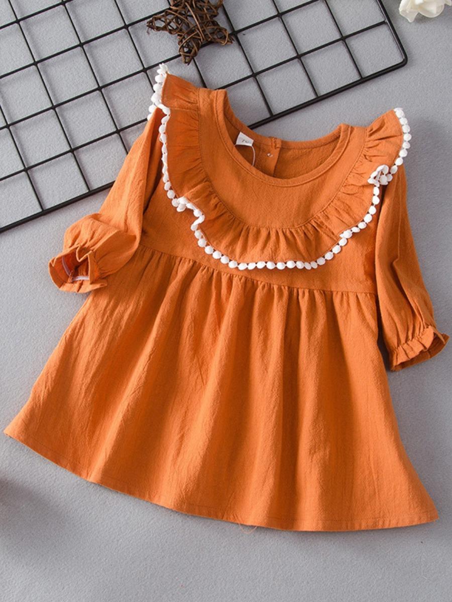 LW lovely Sweet O Neck Flounce Design Jacinth Girl Knee Length Dress