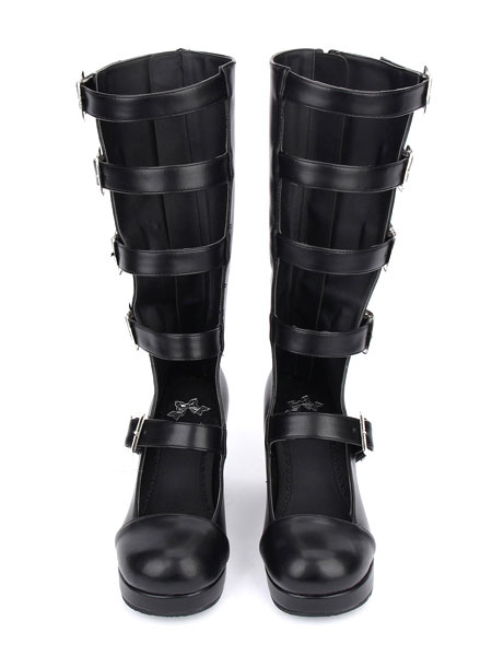 Milanoo Gothic Lolita Boots Kitten Heel Platform Punk Style Buckle Boots With Buckle