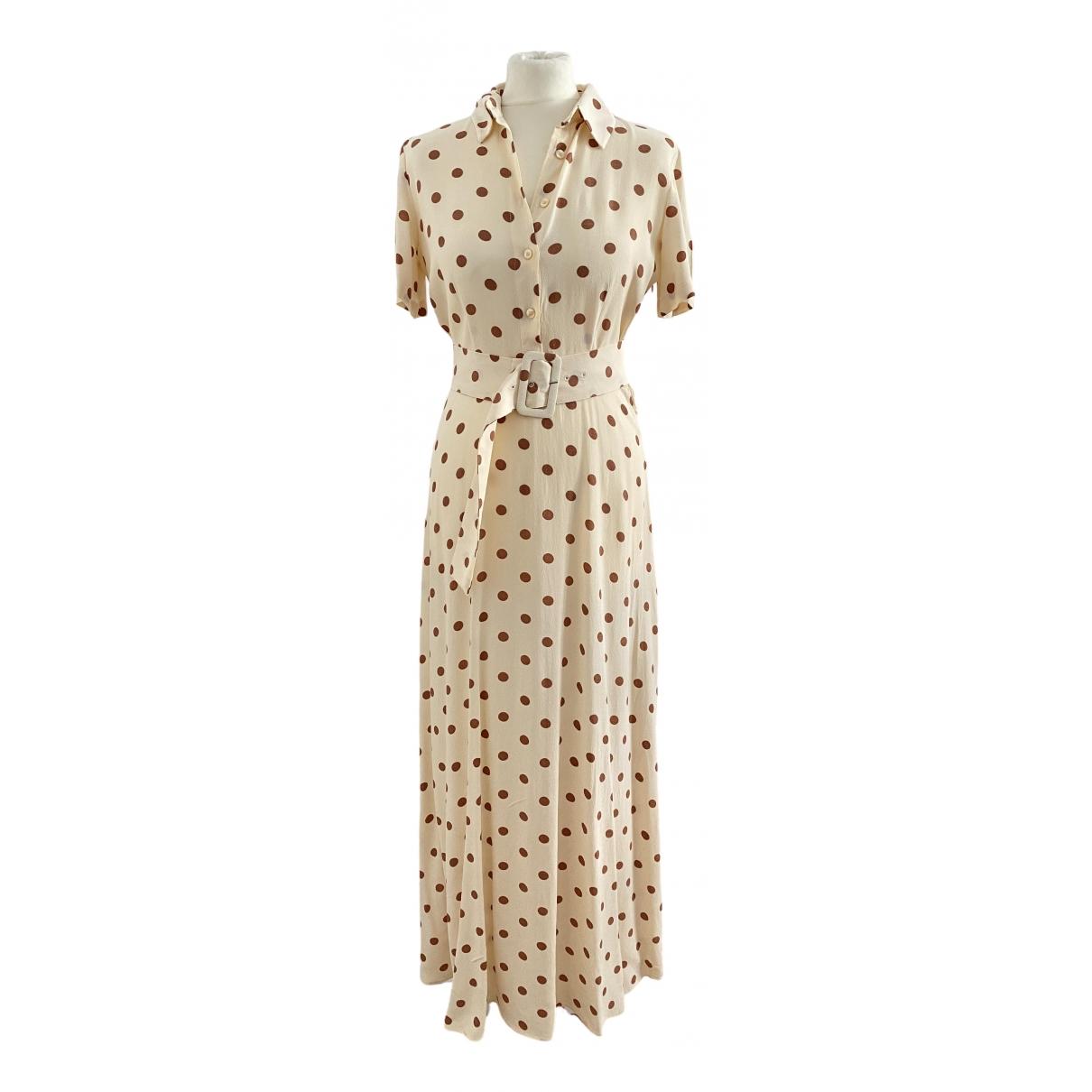 Zara \N Kleid in  Beige Viskose