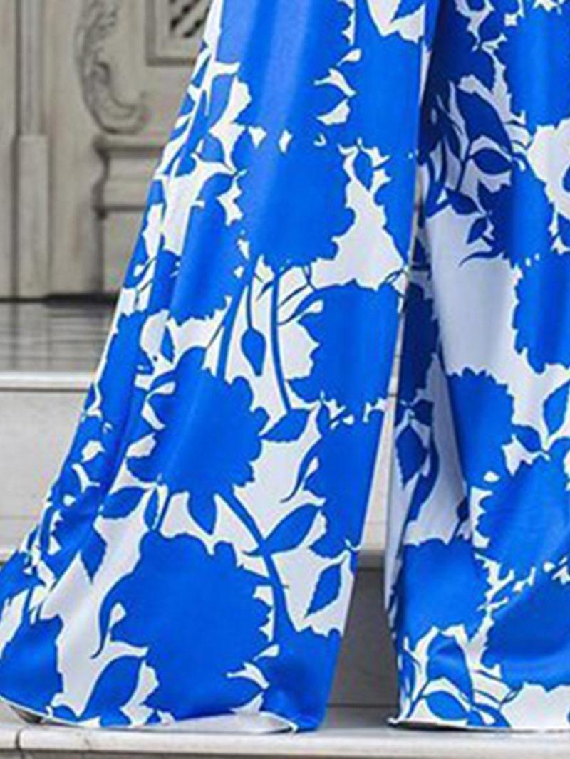 Ericdress Fashion Full Length Floral Mid Waist Slim Jumpsuit