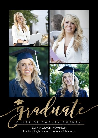 2020 Graduation Announcements 5x7 Cards, Premium Cardstock 120lb with Scalloped Corners, Card & Stationery -Graduate Twenty Twenty by Tumbalina