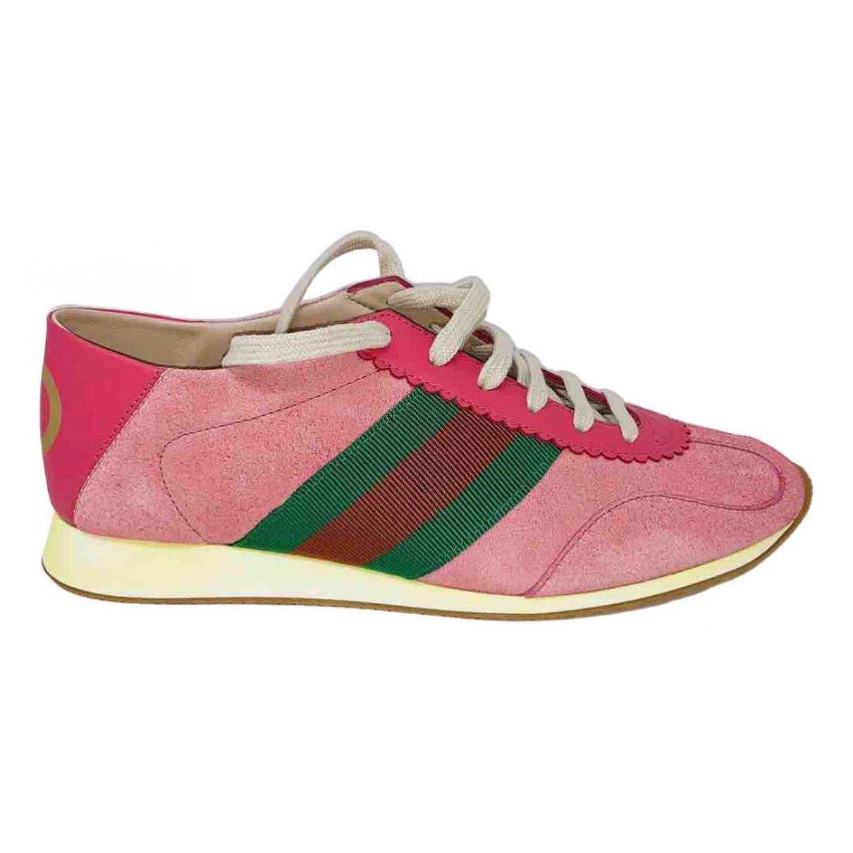 Gucci - Baskets   pour femme en suede - rose