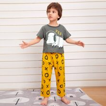 Toddler Boys Cartoon And Letter Graphic PJ Set