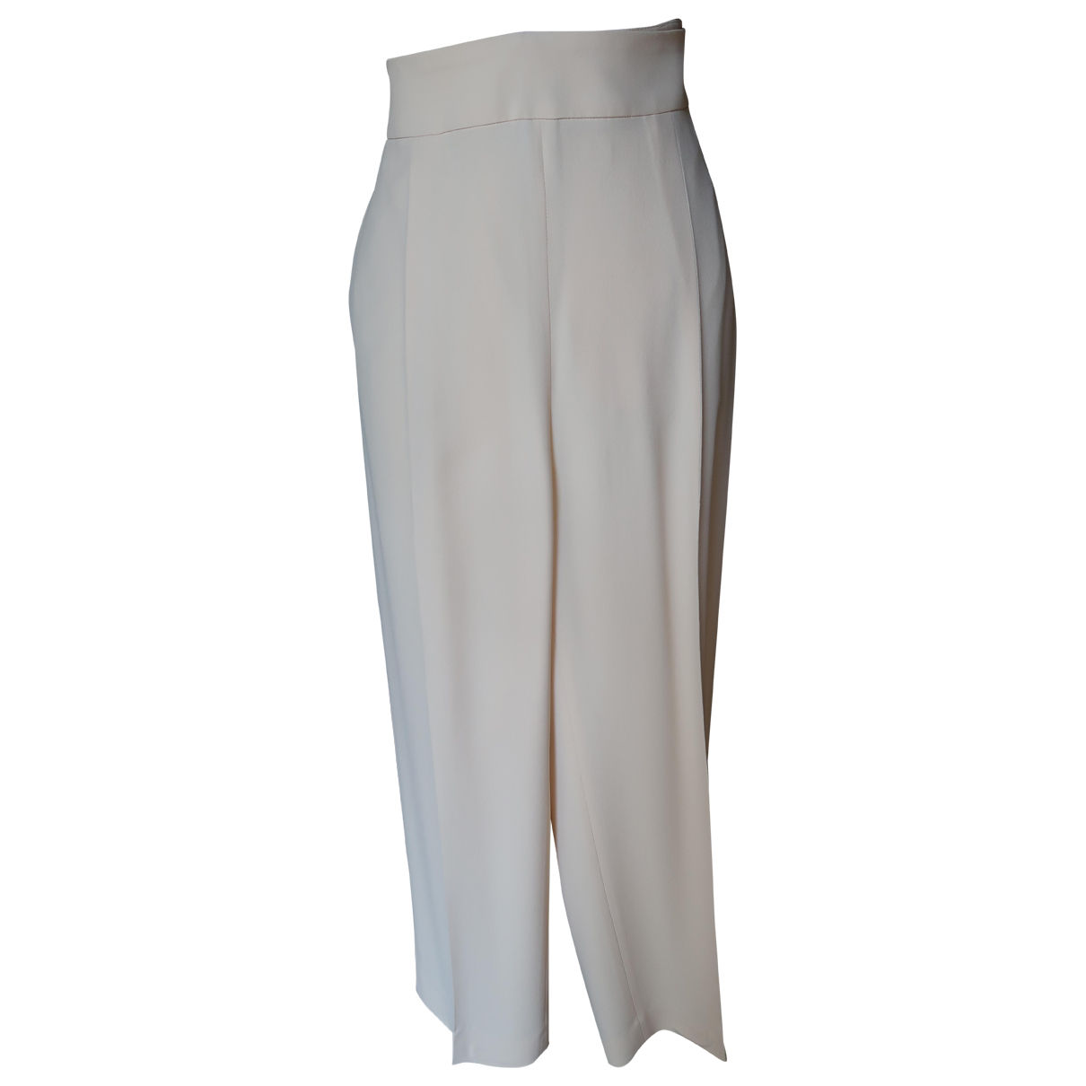 Brunello Cucinelli N Beige Silk Trousers for Women 50-52 IT