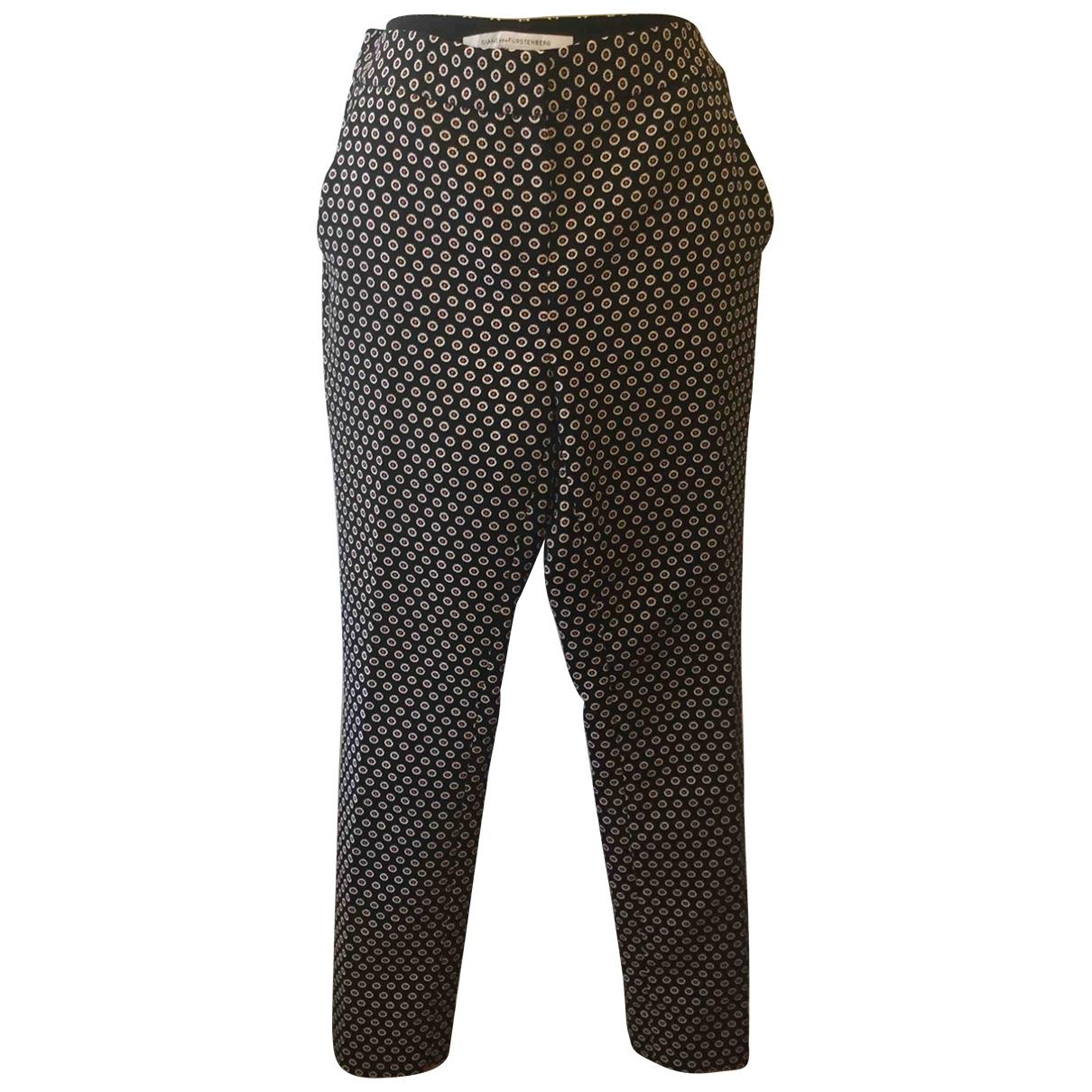 Diane Von Furstenberg \N Black Cotton Trousers for Women 40 FR