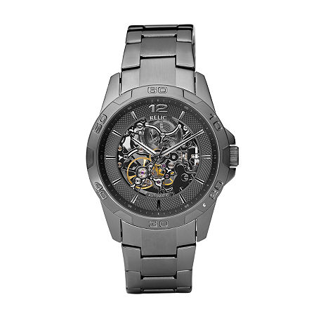Relic Mens Gunmetal Automatic Skeleton Watch ZR11853, One Size , No Color Family