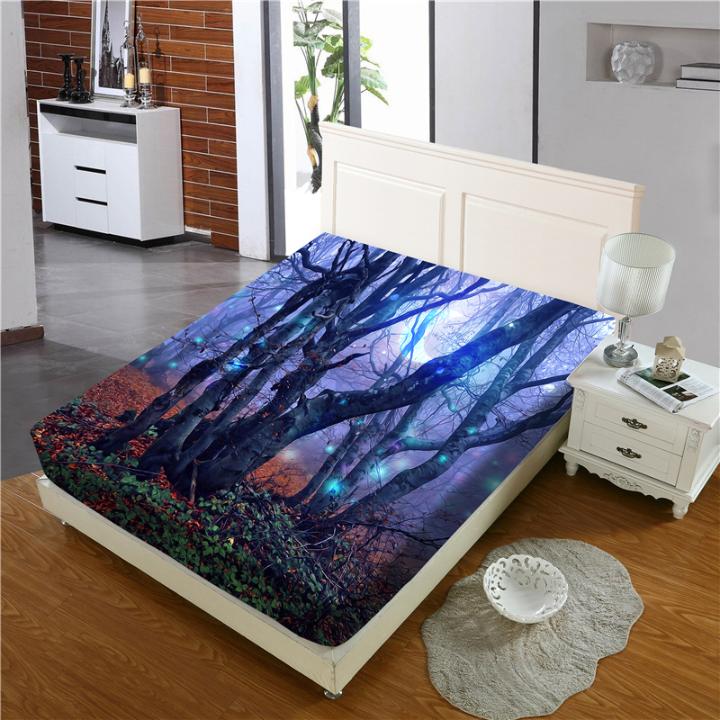 Purple Branch Reactive Printing 1-Piece Polyester Bed Cover / Mattress Cover