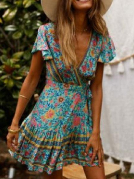 Milanoo Floral Summer Dresses V Neck Short Sleeve Shaping Mini Dress