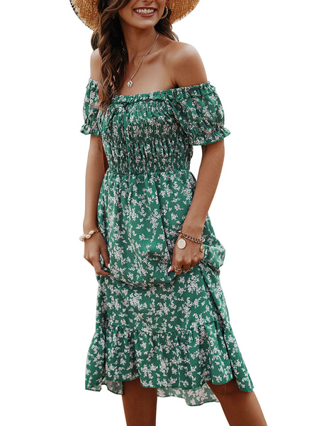 Milanoo Summer Dresses Floral Print Off The Shoulder Sundress