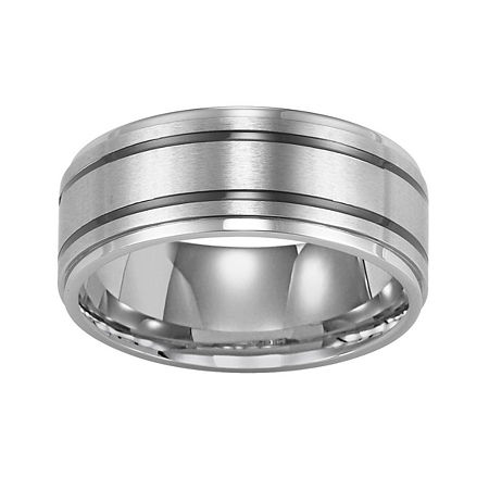 Stainless Steel Ring, Mens 9mm Band, One Size , Gray