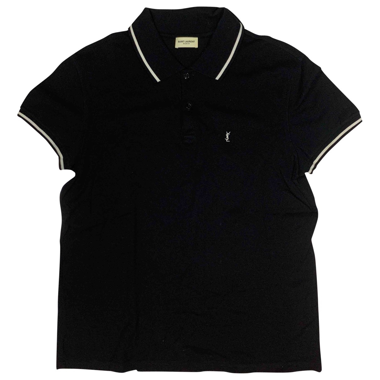 Saint Laurent - Polos   pour homme en coton - noir