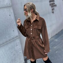 Drop Shoulder Buckle Belted Cord Dress