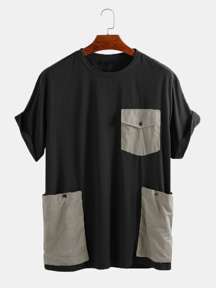 Mens Loose Casual Short Sleeve T-Shirt Decorated With Large Pockets
