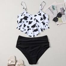 Bañador bikini fruncido hanky con estampado de vaca