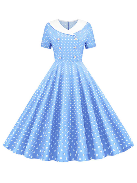 Milanoo Polka Dot Dress 1950s Buttons Short Sleeves Sailor Neckline Swing Dress