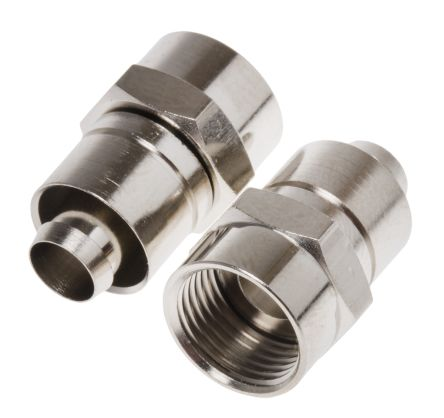 RS PRO Straight Cable Mount Coaxial Connector, Plug, Nickel, Crimp Termination, RG6 L (5)