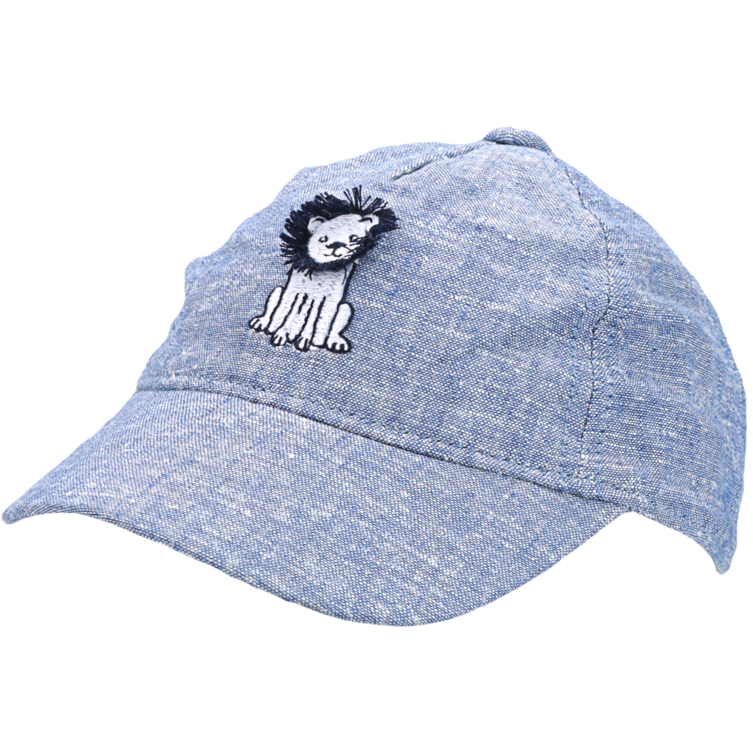 Janie And Jack Girl's Chambray Lion Cap Hat - 0-3 Months