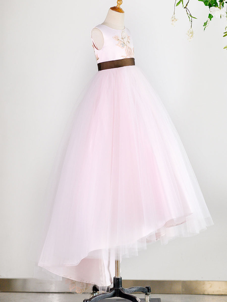 Milanoo Flower Girl Dresses Jewel Neck Tulle Sleeveless With Train Princess Silhouette Embroidered Kids Social Party Dresses