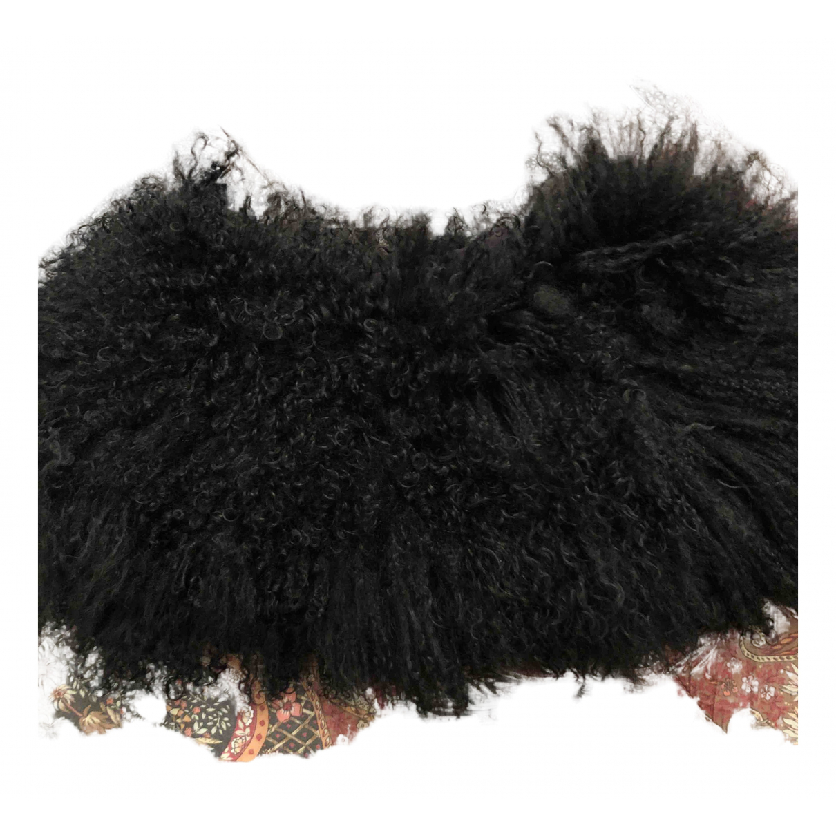 - Foulard   pour femme en agneau de mongolie - noir