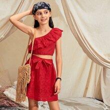 Rot Mit Guertel  Einfarbig Bohmisch Maedchen Zweiteilige Outfits