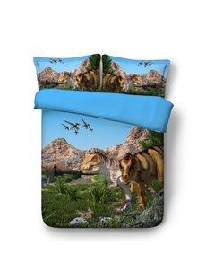 Dinosaur Island 3D Printing Polyester 4-Piece Bedding Sets/Duvet Cover