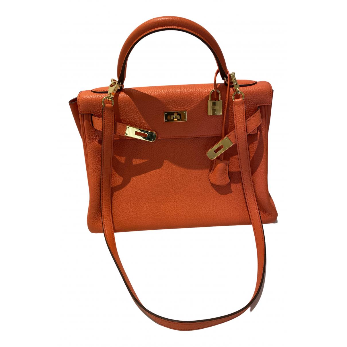Hermes Kelly 32 Handtasche in  Orange Leder