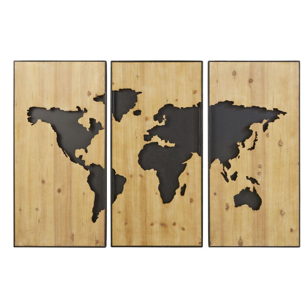3-teilige Deko aus geschnitztem Tannenholz und schwarzem Metall 180x120