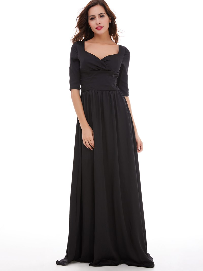 Ericdress Square Neck Half Sleeves A Line Evening Dress