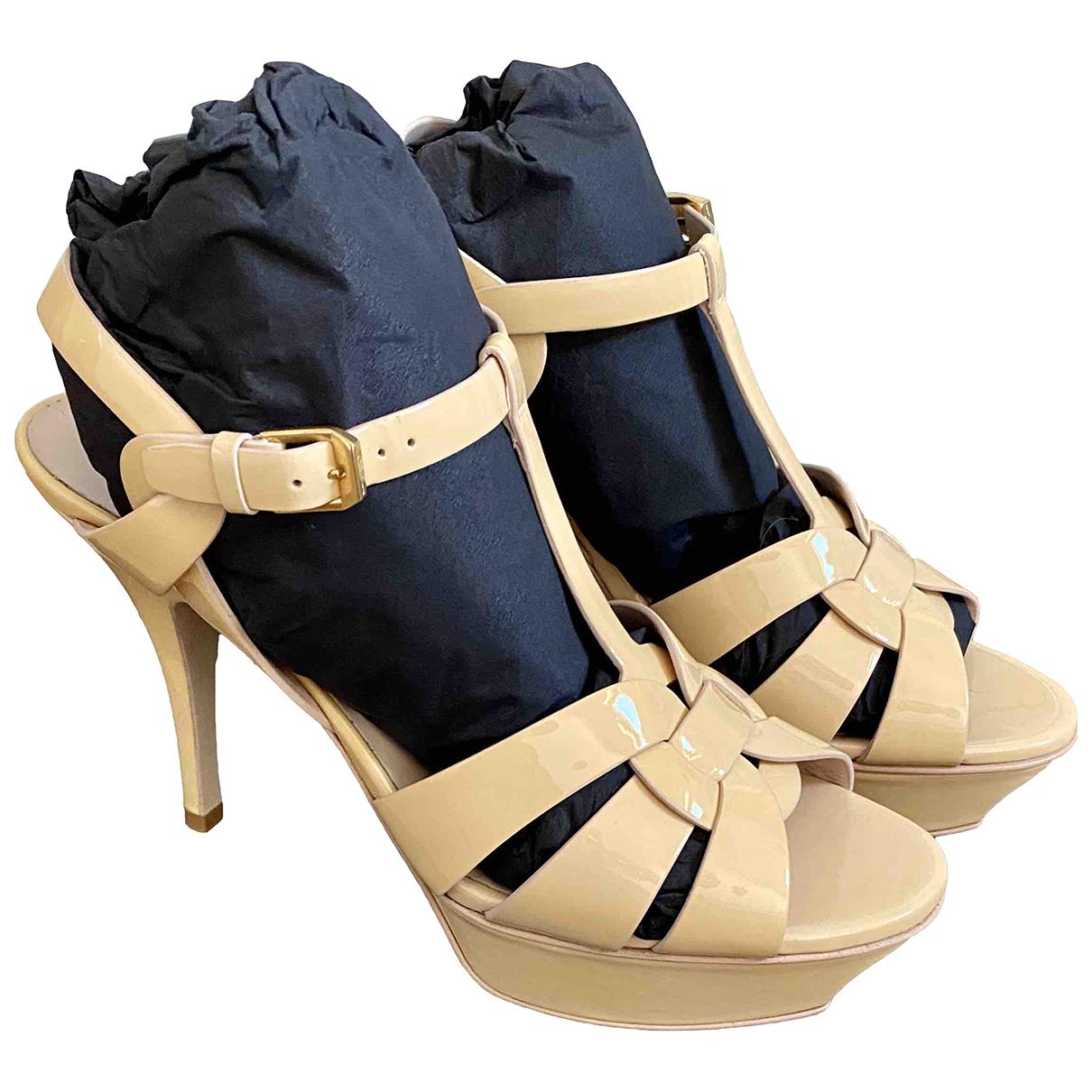 Saint Laurent Tribute Yellow Patent leather Sandals for Women 38 EU