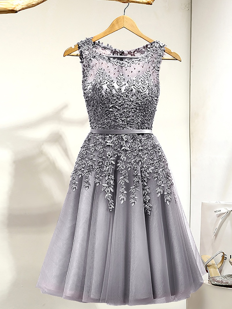 Ericdress Round Neck Appliques Pearls Cocktail Dress