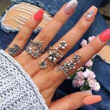 Spiral Blumen Wrap Ring Set 4pcs