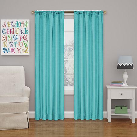 Eclipse Kids' Kendall Rod-Pocket Blackout Curtain Panel, One Size , Blue